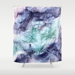 Growth- Abstract Botanical Fluid Art Painting Shower Curtain