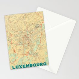 Luxembourg Map Retro Stationery Cards