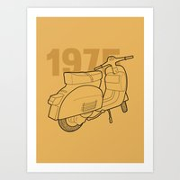1975 Art Prints featuring Vespa Ts 1975 by usbe