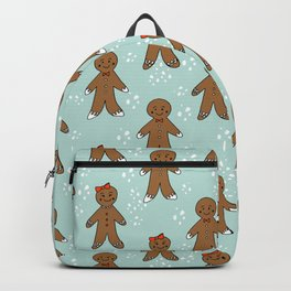 Gingerbread man cute cookies pattern gifts seasonal winter baking tradition mint Backpack