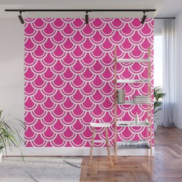 Hot Pink and White Scale Pattern Wall Mural