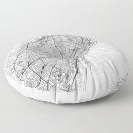 Barcelona White Map Floor Pillow