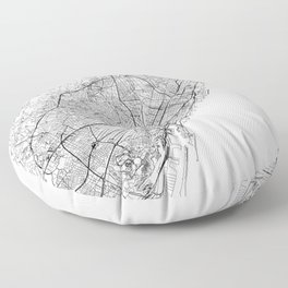 Barcelona White Map Floor Pillow