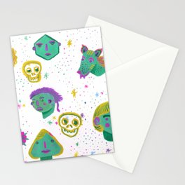 Faces in the night sky. Stationery Cards