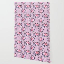 Pink Floral and Herringbone Pattern Wallpaper