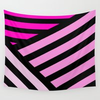 striped Wall Tapestries featuring STRIPED {PINK} by N A T