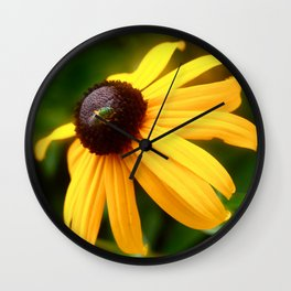 Flower with Bug Wall Clock