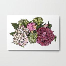 Peonies and Blooms Bunch Graphic Art Watercolor Metal Print