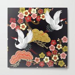 Japanese crane bird hand drawn illustration pattern on dark background.  Metal Print