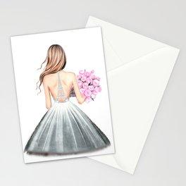 Paris print Fashion illustration Wedding dress art Paris theme Girls dorm art Eiffel wall art Romant Stationery Cards