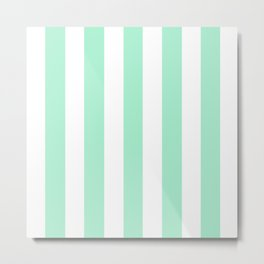 Magic mint heavenly - solid color - white vertical lines pattern Metal Print