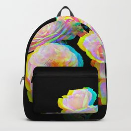 Pale Pink Roses on Black with Glitch Backpack