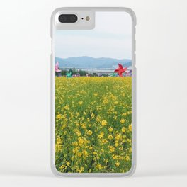 Rapeseed yellow flowers in Busan Clear iPhone Case