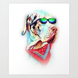 Great Dane Colorful Neon Dog Sunglasses Art Print