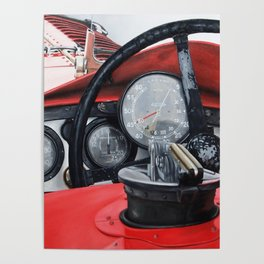 Old racing red car Poster