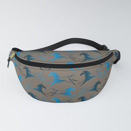 Blue Brown War Horse Fanny Pack
