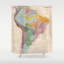 Vintage Geological Map of South America (1873) Shower Curtain