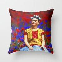 ezra koenig Throw Pillows featuring FRIDA dreaming away by UtArt