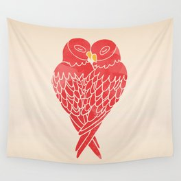 Love Birds (Red) Wall Tapestry