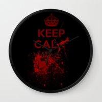 keep calm Wall Clocks featuring Keep calm? by Eveline