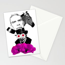 collage surreal zebra madhatter hat sad face flowers  Stationery Cards