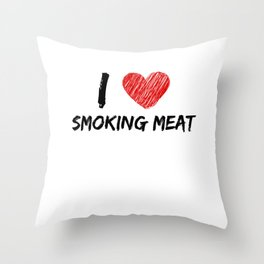 I Love Smoking Meat Throw Pillow