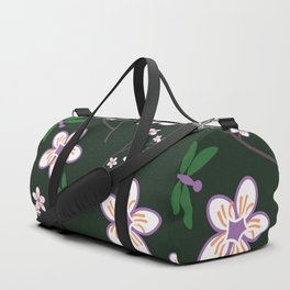 Cherry Blossom Season Purple Flowers on Green Background Duffle Bag