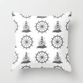Marine nautical seamless pattern with vintage lighthouse wheel Throw Pillow