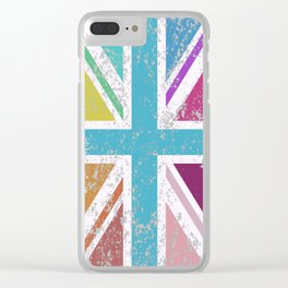 Distressed Multicol Union Jack/Flag Clear iPhone Case