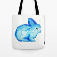 rabbit Tote Bags featuring rabbit by carrie booth
