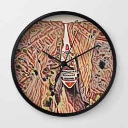 Greece Corinth Canal Artistic Illustration Rocky Terrain Style Wall Clock