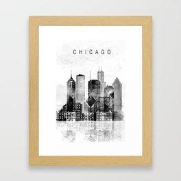 Chicago black and white print Framed Art Print