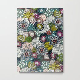 succulents multi dark Metal Print