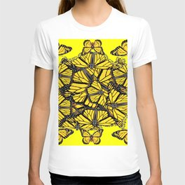 YELLOW MONARCH BUTTERFLY DOG PILE OF WINGS T-shirt