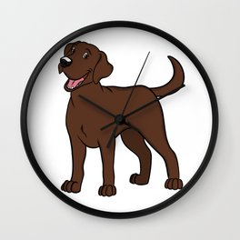 Happy Chocolate Lab Wall Clock