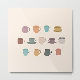 Cups in Colour Metal Print