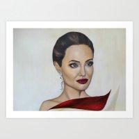angelina jolie Art Prints featuring Angelina Jolie by Halinka H