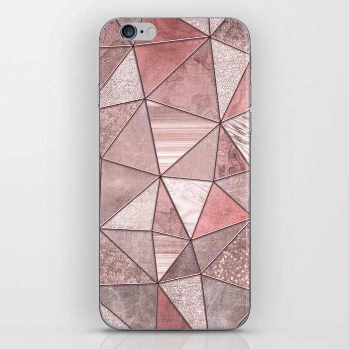 Soft Pink Coral Glamour Gemstone Triangles iPhone Skin