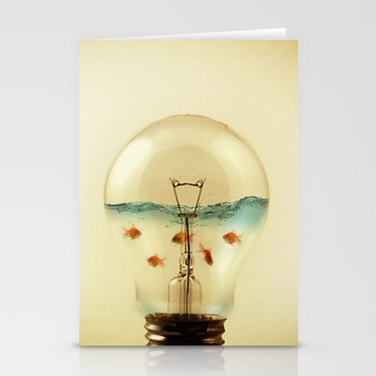 gold fish globe Stationery Cards