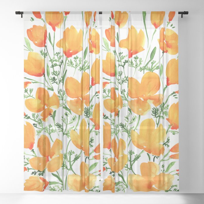 Watercolor California poppies Sheer Curtain