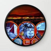 sin city Wall Clocks featuring Sin City by Rishi Parikh