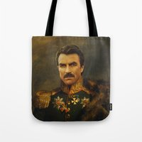 replaceface Tote Bags featuring Tom Selleck - replaceface by replaceface