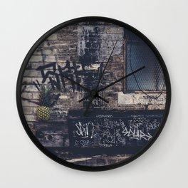Pineapple in street Wall Clock