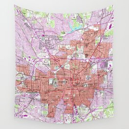 Vintage Map of Greensboro North Carolina (1951) Wall Tapestry