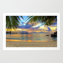 Beach - Palm Trees - Ocean - Blue Sky - Sundown - Sunset Art Print