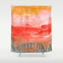 coral horizon Shower Curtain