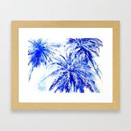 Blue Palm Trees beach california beach design aquatic beach blue design beach house Framed Art Print
