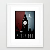 peter pan Framed Art Prints featuring Peter Pan by Rowan Stocks-Moore