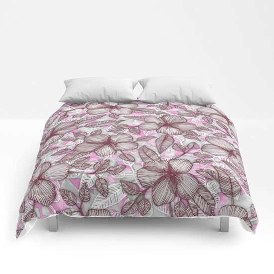 Spring Blossom in Marsala, Pink & Plum Comforters