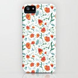 Watercolor floral - deep oranges iPhone Case